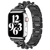 CHENPENG Compatible con Apple Watch Series 6 5 4 3 2 1 SE Acero Inoxidable Metal Cadena de Vaquero Estilo Correa de Repuesto Correa de Pulsera de Metal de Repuesto para joyería,C,42/44MM