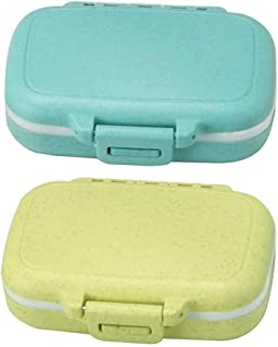 Meta-U Small Wheat-Straw Pill Box Supplement Case for Pocket or Purse - 3 Removable Compartments Travel Medication Carry Case - Daily Vitamin Organizer Box (Blue+Green)