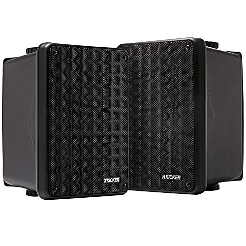 Kicker KB6 2-Way Full Range Indoor Outdoor Speakers (Pair) | Weatherproof Speakers for Patio Sunroom Garage Poolside in-Home | 6.5 inch woofer, 2x5 inch Horn Tweeter | Quick Mounting System