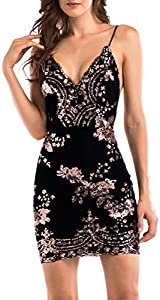 BerryGo Women's Sexy Backless Bodycon Floral Sequin Clubwear Party Dress