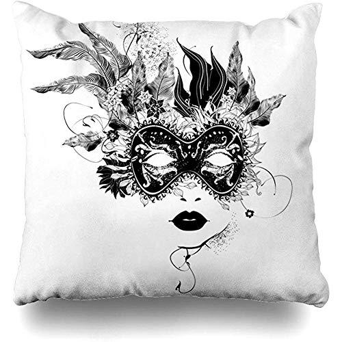 Asekngvo Fodere per Cuscini Coperte Mascherata Donna Astratta Maschera Fiori Nero Bianco Veneziano Decorazioni per la casa Federa Quadrata Dimen