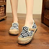 N&W Embroidered Shoes Handmade Women Linen Cotton Slip on Loafers Espadrilles Striped Pattern Ladies Casual Flat Platform Sneakers Shoes Old Beijing Embroidered Shoes (Color : Gray Size : 5 UK)