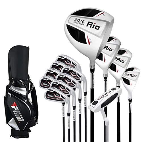 WYSTAO Das volle Spektrum der Herren Golfschläger (13 Stück) Mit Golf Bag Bag Set einschließlich Aluminium-Treiber, Edelstahl Fairway, Edelstahl Hybrid, Putter, die rechte Hand