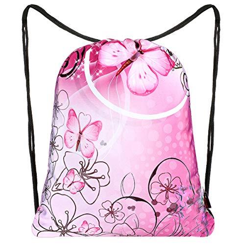 iColor Rucksack mit Kordelzug für Mädchen und Damen, Pink Butterfly (Pink) - AU-SPB-13