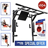 Wall Mounted Pull Up Bar and Dip Station with Vertical Knee Raise Station Indoor Home Exercise Equipment for Men Woman and Kids Great for Workout and Fitness (Athlete) (Black)