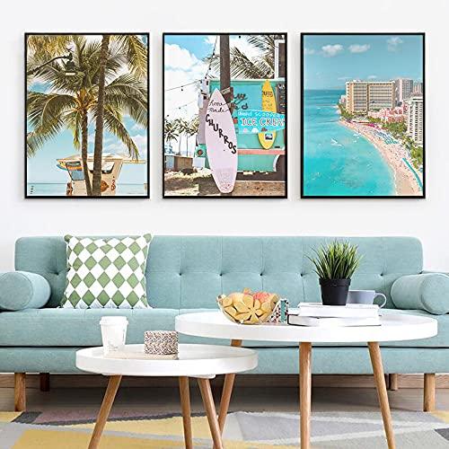 Tabla De Surf De Playa Nórdica, Paisaje Tropical, Lienzo, Pintura De Árbol De Coco, Cartel De Mar, Impresión Artística, Imagen De Pared, Decoración Del Hogar 24'X32'X3Pcs