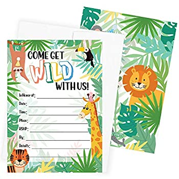 Jungle Birthday Party Invitations - Come Get Wild With Us - 10 Cards with Envelopes