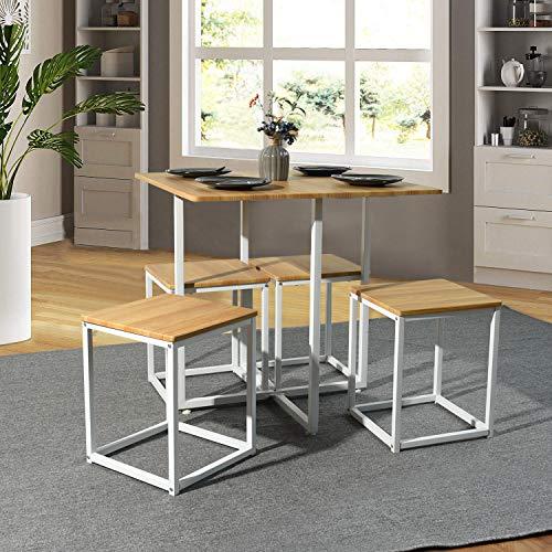 FURNISH 1 Set da 5 Pezzi Tavolo da Pranzo Quadrato e sgabelli, Tavolo da Colazione e sedie, Tavolo da Ufficio in Rovere Home Office