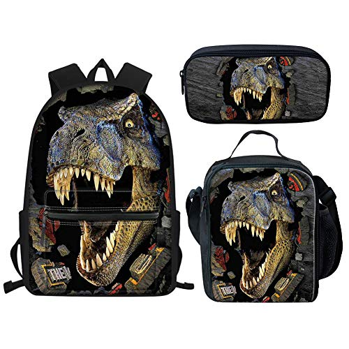 Aoopistc T-Rex Dinosaur Printed Adjustable Straps School Backpack for Children Student Girl Boy Best Gift Schoolbags Set of 3 Pack Thermal Insulated Lunch Boxes Pencil Case Zipper Closure Bookbags