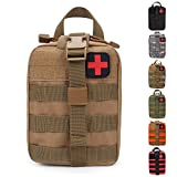 HX OUTDOORS Tactical Molle Rip-Away EMT Medical First Aid IFAK Lifesaving Pouch,Outdoor Medical Package,Mountaineering/Climbing Rescue Tools Package Made of 600D Waterproof Fabric (Tan)