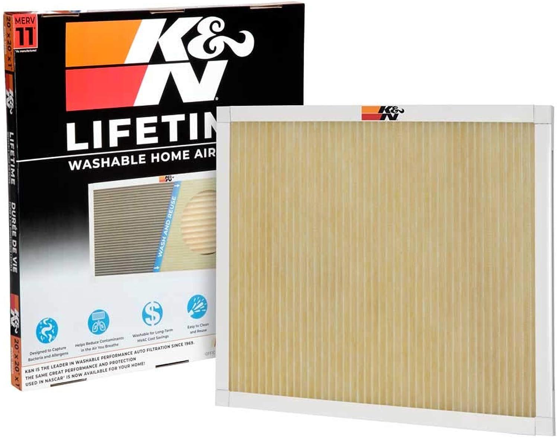 K&N HVC-12020 Lifetime Washable AC Furnace Air Filter, MERV 11 20x20x1