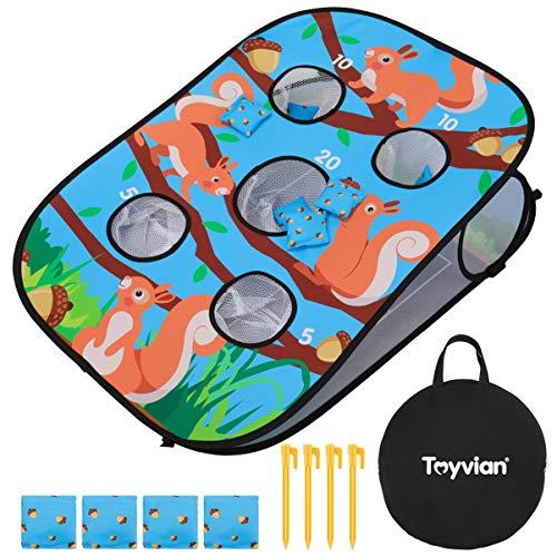 TOYANDONA Toyvian Werfen Dartscheibe mit 4 Pfählen Und 8 Sandsäcken Sitzsack Werfen Spiel im Freien Spielzeug für Kinder Mädchen Jungen (90X60cm)