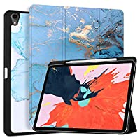 """MAITTAO Built-in Apple Pencil Holder & Charging For iPad Pro 12.9"""" Case (3rd Gen) 2018 Release, Folio Leather Stand With Auto Sleep/Wake Cover For Apple iPad Pro 12.9 Inch 2018,Marble 5"""