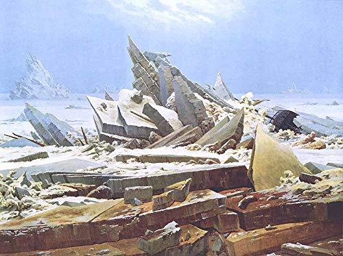 JH Lacrocon Caspar David Friedrich - El Mar Hielo Naufragio Esperanza Reproducción Cuadro sobre Lienzo Enrollado 90X65 cm - Pinturas Paesaggio Geografico Impresións Decoración Muro