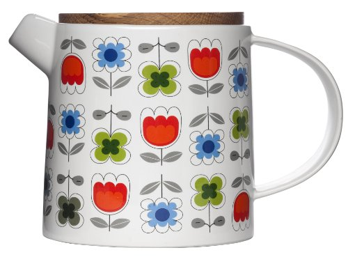 Sagaform - Théière 1,2 L avec Couvercle en Chêne Fleurs Rouge Verte et Bleu