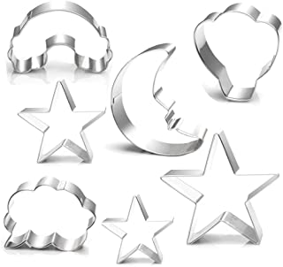 Rainbow Star Moon Cloud Cookie Cutter Set - 7 Pieces - Food Grade Stainless Steel