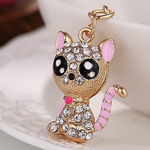 ZHTCD Modieuze strass schattige kat sleutelring charme vrouwen handtas sleutelhanger kristal sleutelhanger accessoires vrienden geschenken