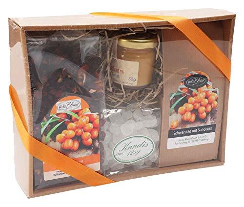 Heiko Blume Sanddorn Geschenke-Box | Sanddorn schwarzer Tee | Sanddorn Früchtetee | loser Tee | Kandiszucker | Sanddorn Blütenhonig