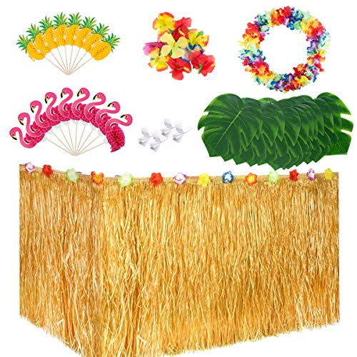 Gorse Luau Party Decorations Set with 9ft Luau Table Skirt,Palm Leaves,Hibiscus Flowers,3D Flamingo and Pineapple Cupcakes Toppers and Flower Lei Garland