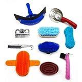 CLBING Horse Brush Set - Kit De Aseo para Caballos Equestrain Brush Comb Juego De Herramientas De Limpieza para Caballos 10 Piezas