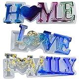 Molde de Resina Epoxi de Letras, 3PCS Molde de Fundición de Resina, Love/Home/FAMILY DIY 3D de Resina Epoxi de Cristal, Molde de Resina para manualidades y Decoración de Mesa