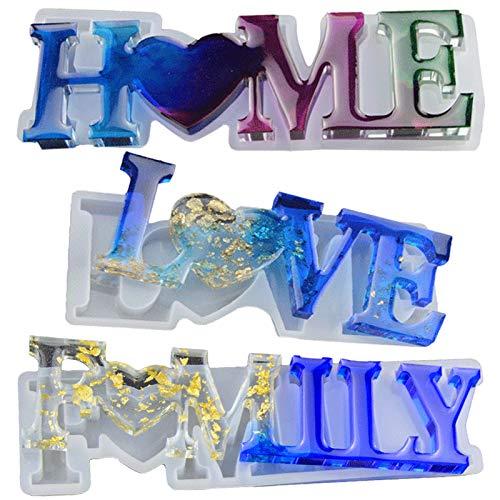Stampi per Resina Epossidica Lettere, 3PCS Love/Home/Family Stampi per Resina Epossidica, Stampo per Colata in Resina, Stampi in Resina Epossidica per Fai-da-te, per Decorazione da Tavola Artigianale