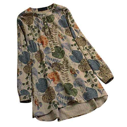 Womens Vintage Lange Blouse - Dames Plus Size Casual O-hals Bloemen Print Lange Mouw Button Neck T-Shirt Tops