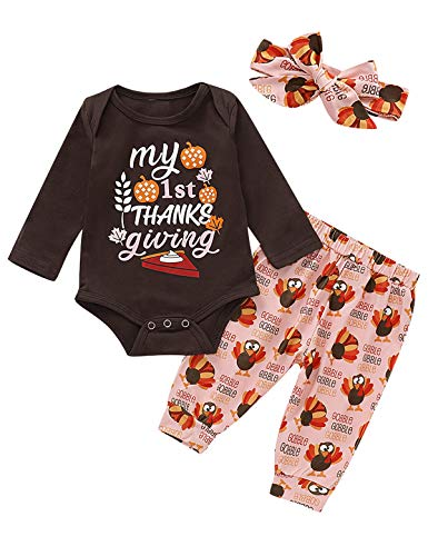 Happidoo Toddler Girls My First Thanksgiving Outfit Baby Girl Pumpkin Gobble Turkey Pant Set (Brown,6-12 Months)