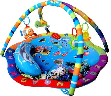 Bebe Style Baby Spielteppich mit Bogen – Krabbeldecke & Kuschelteppich mit Spielbogen im Ozean Design