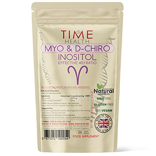 Myo & D Chiro Inositol - Effective 40:1 Ratio - Supports Women with PCOS - Promotes Hormonal Balance & Normal Ovarian Function - 120 Capsules - Vegan - No Additives - Pullulan (120 Capsule Pouch)