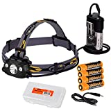 Fenix HP30R 1750 Lumen USB Rechargeable CREE XM-L2 and XP-G2 R5 LED Headlamp, 4 X Rechargeable Batteries, Micro USB Cable, LumenTac Battery Organizer Bundle (Iron Grey)