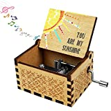 Music Box Wife Girlfriend Gift, You are My Sunshine Gifts for Daughter Son Boyfriend Husband Wooden Musical Box Hand Cranked Valentine Christmas Anniversary Birthday Present