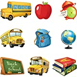 54 Pieces Back to School Cutouts School Bus Cutouts Fruit Paper Cut Bulletin Board Cutouts for Classroom Birthday Theme Decor Boy Girl Classroom School Photo Backdrop Decor