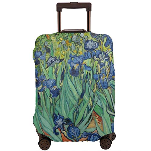 Nicokee Travel Luggage Cover Art Painting Vincent Willem Van Gogh Irises 1889 Suitcase Protector Baggage Suitcase Cover Fits 18-32 Inch Luggage