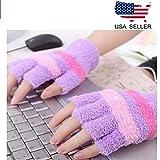 HoFire USB Heating Winter Gloves Women Hand Warm Gloves USB Heater Fingerless Warmer Mitten Gloves (Purple)