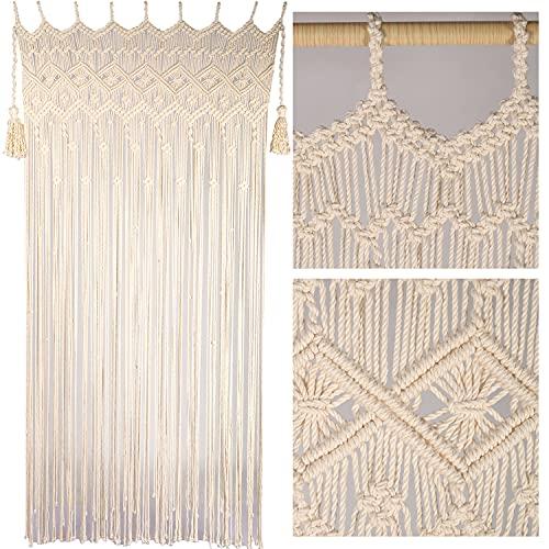 "Macrame Curtains for Doorways, Macrame Curtains for Window, Macrame Door Curtains Boho Wedding Decor, Macrame Wedding Backdrop, Macrame Decor, Door Curtain for Doorways, 77"" x 37"", Beige"