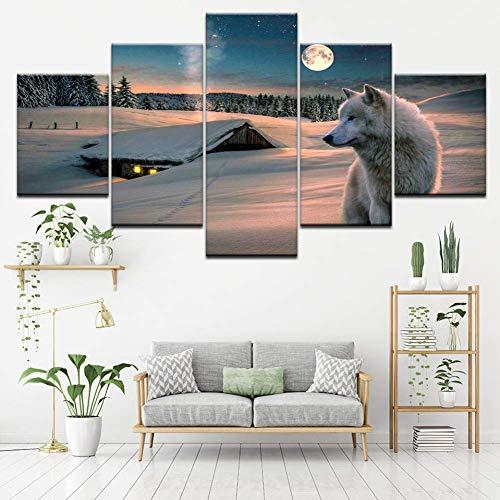 Hbbhbb afdrukken 5 canvas muur kunst schilderij Late Sneeuw Wit Wolf Papier fotos foto prints woonkamer decoratie