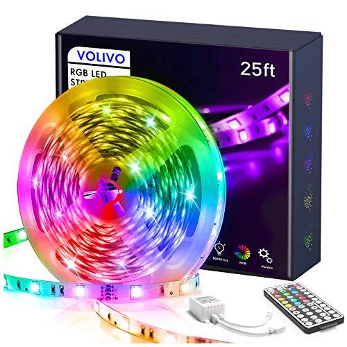 Volivo Led Strip Lights for Bedroom 25ft, Flexible RGB Led Lights for Bedroom Color Changing Led Rope Lights Strip with Remote