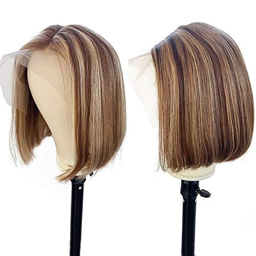 YBINGA Peluca de pelo humano rubio castaño de color barato corto BOB encaje frontal peluca pre plucked 1b 30 destacado Ombre peluca delantera de encaje (densidad: 150%, longitud estirada: 10 pulgadas)