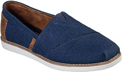 Skechers Women's BOBS Gypsy - Winter Walks Slip On Flat Shoes, Navy, 7.5 M US