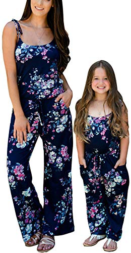 Loalirando Mono Largo Mujer Verano Jumpsuit Pantalones de Madre e Hija Peto Sin Mangas de Cintura Alta con Bosillos Hombro Descubierto