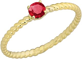 Dainty 10k Yellow Gold Stackable Ruby Solitaire Rope Engagement/Promise Ring