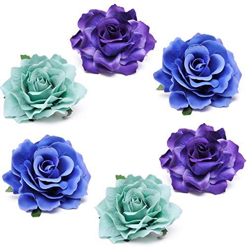 Coucoland Rose Blumen Brosche Haarclips Braut Hochzeit Haarschmuck Flamenco Tanz Haarspange Damen Fasching Kostüm Accessoires (6 Stück - blaue Serie)