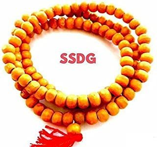 DevDeep 108 ORANGE Beads Tulsi Japa Mala for chanting the Hare Krishna mantra. Hand crafted in India. Approx 40
