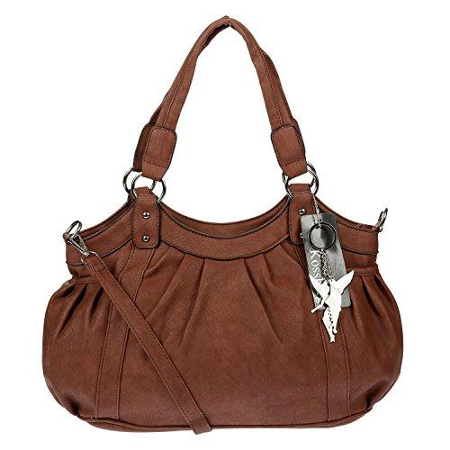 Kossberg Damen Henkeltasche Handtasche Schultertasche Bag Modell Alien (Braun Two)