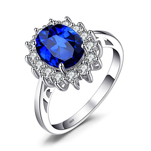 JewelryPalace Anillo de Compromiso Solitario Princesa Diana William Kate Middleton 3.2ct Halo Oval Creado Zafiro Azul Plata de ley 925 Tamaño 7