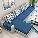CasaStyle 5 Seater Adona LHS Fabric L Shape Sofa Set (Dark Blue- Light Grey)