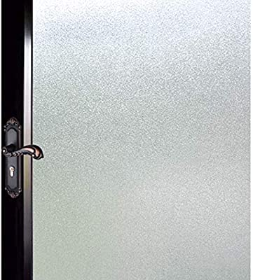 DUOFIRE Privacy Window Film Natural Frosted Glass Film Static Cling Glass Film No Glue Anti-UV Window Sticker Non Adhesive for Privacy Office Meeting Room Bathroom Living Room 17.7in. x 118in. S001