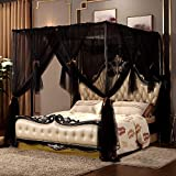 Nattey 4 Corners Post Canopy Bed Curtain King Size - Black 4 Opening Mosquito Net Canopy Bed Cover