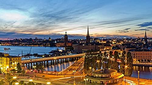 Klassisches Puzzle 1000 Stück Erwachsene Kinder Puzzle Diy Stockholm Schweden Papp puzzle moderne Wohnkultur Festival Geschenk intellektuelles Spiel Wand kunst 26x38cm